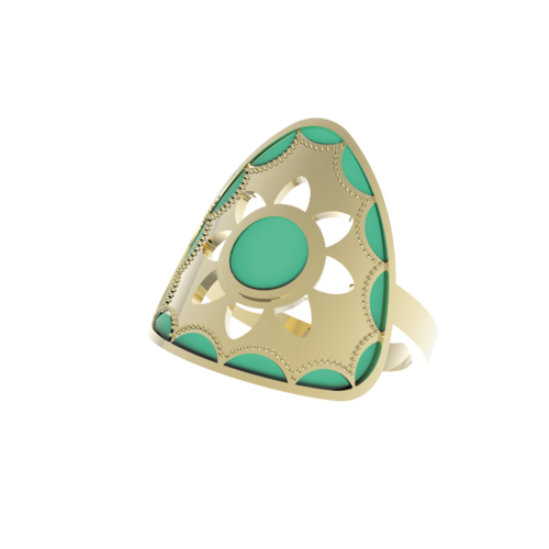 Anillo Loto Triangular
